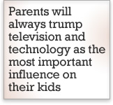Parents will always trump television and technology as the most important influence on their kids.