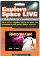 Slooh Explore Space Live Telescope Card