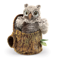 Owlet in Tree Stump Puppet